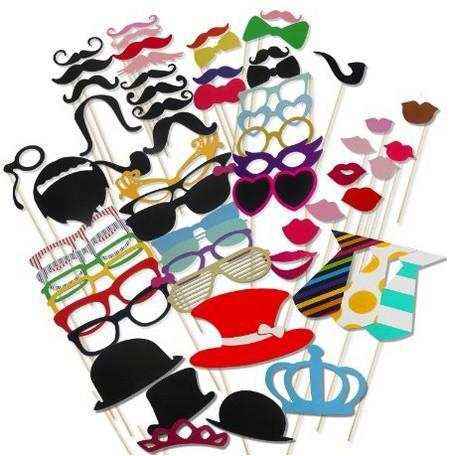 Funny 60pcs/set Moustache Hats Photo Booth Props Paper Mask Party Decoration Masquerade Masks Kids Toys Christmas Event Decor