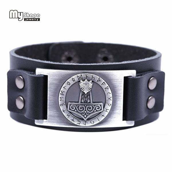 My Shape Genuine Leather Bracelets Bangles Thor Hammer Holy Patron 24 Nordic Runes Amulet Button Snap Bracelet Men