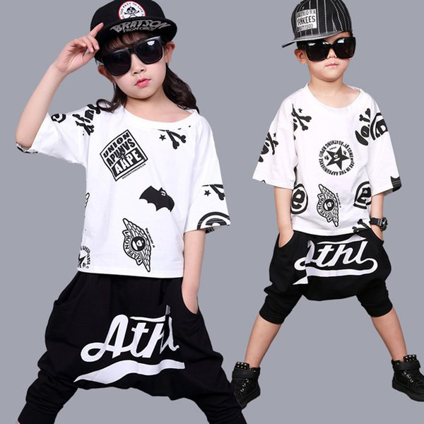 Marca Summer Children Clothes Girls Boutique Outfit Dance Dress Para Niños Jazz Disfraces de Hip Hop Niños Ropa Set Unisex 2 piezas