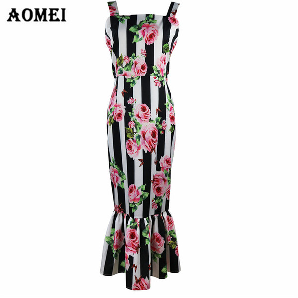 Vestido de las mujeres impresas Summer Fashion Ruffles Vestidos florales correa de espagueti 2018 Bodycon adelgaza ropas casuales Mid-Calf Clothing
