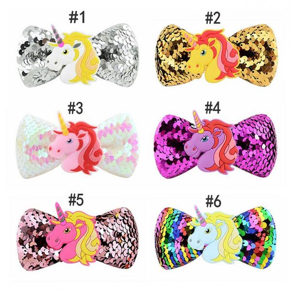 Girls Cartoon Unicorn Sequin Hair Clip Hairgrips For Kids Rainbow Bowknot Grosgrain Ribbon Hairpins Cute Baby Hair Accessories