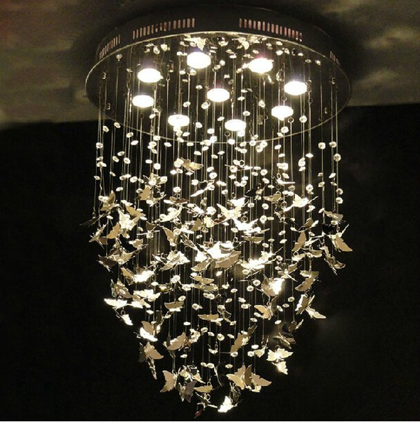 Neue Moderne K9 Kristall Pendelleuchten Chrom Schmetterling Dekoration Schlafzimmer Caboche Wohnzimmer Leuchte 110-240 V D500mm