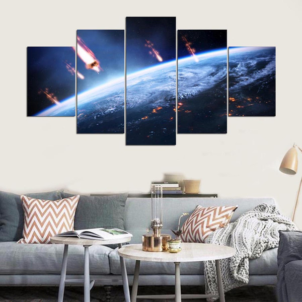 Printed Modular Pictures Large Canvas Painting For Bedroom 5 Panel Planet Landscape Living Room Home Wall Artwork Decoration