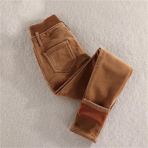Alta qualidade de cintura alta além de veludo de veludo grosso calças de inverno calças casuais elástico pés lápis tamanho grande das mulheres