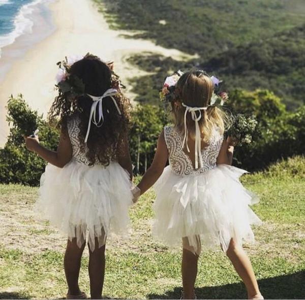 2018 bianco manica corta per bambini ragazze fiore vestito bambina farfalla festa di compleanno abiti bambini fantasia principessa abito da ballo abiti da sposa