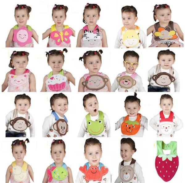 72 tasarımlar Cater Bebek Önlükler 3-layer su geçirmez 3D Karikatür Hayvanlar BIBs Bebek Hayvan Bebek Bebek Önlüğü Burp bezleri toptan önlükler 0137