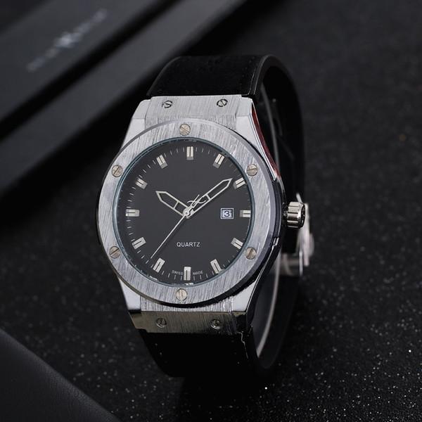 18 anos de moda de luxo dos homens relógio de quartzo série de marca de designer de qualidade relógio de couro dos homens de qualidade de couro pulseira de relógio de natal original gif