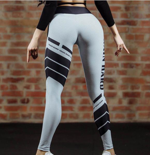 Nueva moda nueva primavera y verano hot sexy letter impresión de la aptitud pantalones deportivos pantalones de yoga de las mujeres