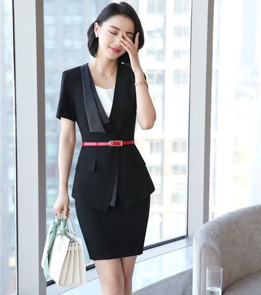 Fashion Female Skirt Suits for Women Business Suits Blazer and Jacket Sets Office Ladies Work Wear Clothes with Belt