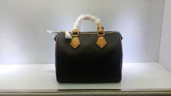Top quality Women Genuine real Leather speedy 30 handbag shoulder bag speedy 25 strap designer handbags Ladies tote can hot stamping 41108
