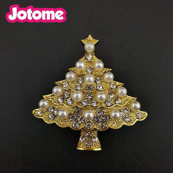 100pcs/lot Gold Tone Clear Crystal Rhinestone Christmas Tree With Pearl Pin Brooch