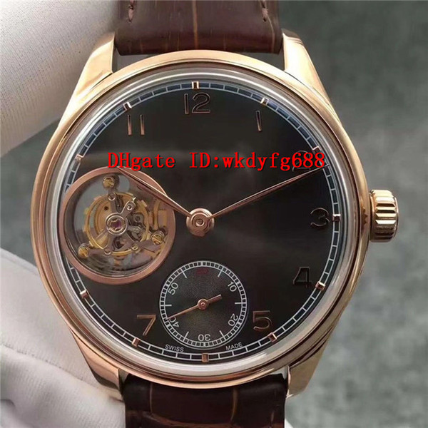 TF factory Portuguese Real Tourbillon Automatic watches Sapphire Crystal alligator leather strap Rose gold 316L Steel Transparent case back