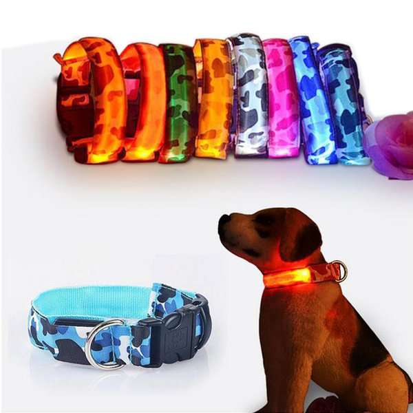 Camouflage LED Light Dog Collars Adjustable Pet Dog Cat Safety Flashing Glow Necklace Bright Pet Luminous Dog Collar S-XL