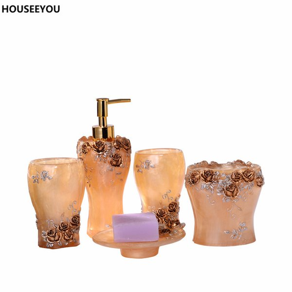 Floral Elegant Rose Resin Bathroom Accessories Set Fadeless Lotion Dispenser Toothbrush Holder Gargle Cup Soap Dish 5pcs /Set