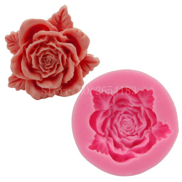 Fiore rosa con pizzo silicone fondente sapone torta 3D stampo cupcake gelatina caramelle cioccolato decorazione strumento di cottura stampi FQ1970