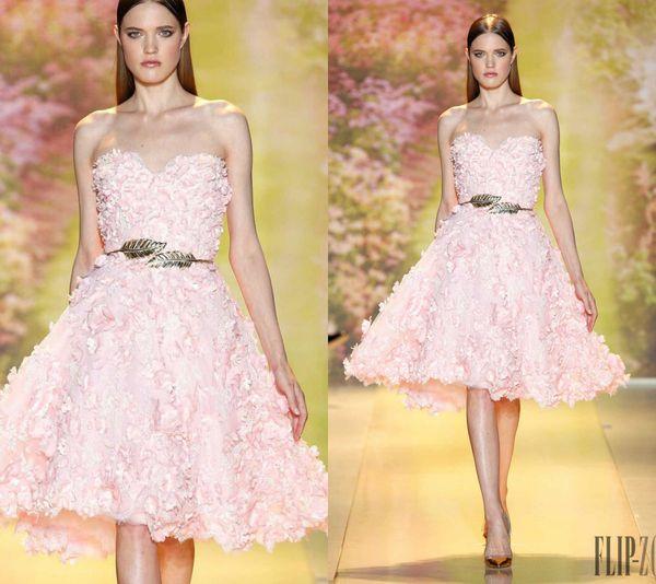 Zuhair Murad Prom Dresses Sweetheart Pizzo 3D Appliques floreali Lunghezza al ginocchio Rosa Abiti da cerimonia convenzionali Abito da sera elegante personalizzato