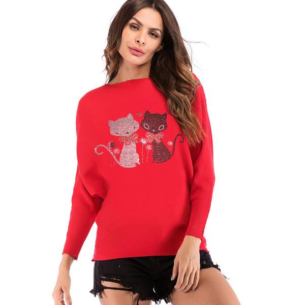 Fashion t shirt women Ladies Cat Pattern Casual T-Shirt Long Sleeve O-Neck knitting Tops poleras de mujer moda #20181013