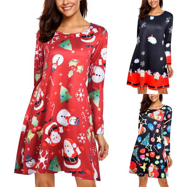 2019 JRNNORV 2018 New Summer Desses Womens Christmas Dresses Skater Ladies  Snowman Swing Mini Dress Plus Size For Women BA0351 From Maluokui, $43.59 |  ...