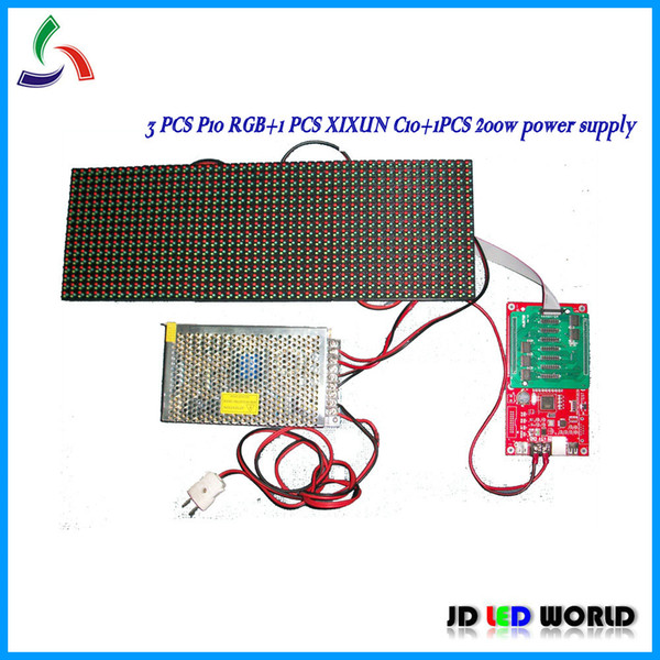 3 moduli display led P10 RGB + 1 pz xixun controller led full color asincrono C10 + 1 alimentatore 5V40A