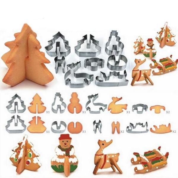 8 pz / set In Acciaio Inox 3D Natale Cookie Cutters Torta Cookie Muffa Fondente Cutter Strumenti di Cottura FAI DA TE spedizione gratuita