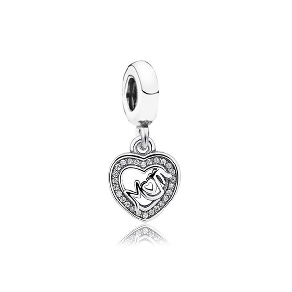 Crystal Mom Dangle Unique Charm Bead Big Hole Fashion Women Jewelry European Style For Pandora Bracelet Necklace