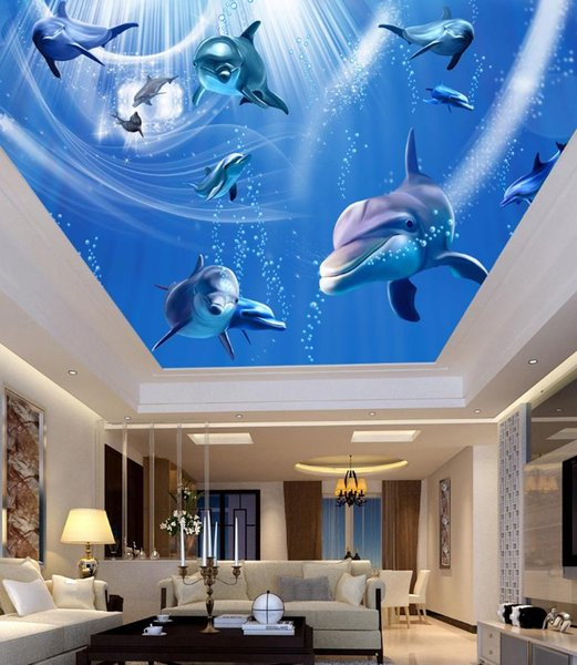 sea wallpaper Underwater World dolphin zenith ceiling murals modern living room wallpapers