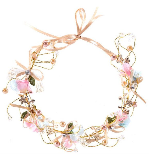 Awesome Pink Wedding Headpieces Rhinestone Headbands Hair Flowers Pearls Bohemia Ribbon Women Bridesmaid Hair Flowers Bridal Accessories