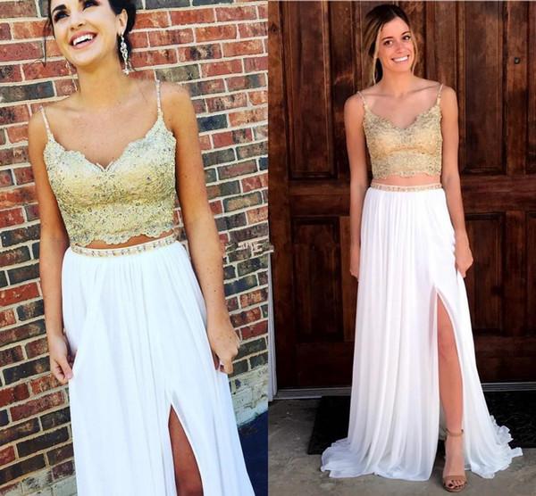 elegant White and Gold Two Piece Evening Dresses summer boho V Neck Spaghetti Straps Lace Chiffon Beading Split Long Prom Dress Sweep Train