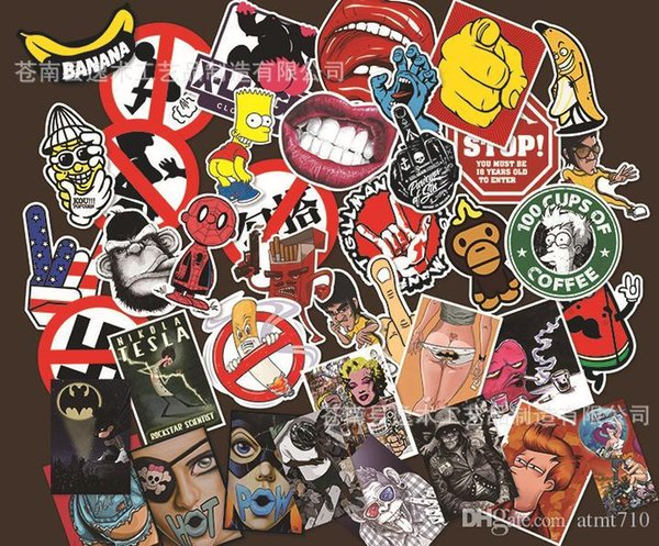 40 Pcs Black and White and Red Stickers for Laptop Fridge Phone Waterpoof Fuel Cap Creative Sticker Home decor Toy Styling Decal