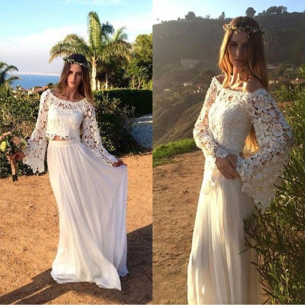 best selling Modern Full Lace Beach Wedding Dresses 2019 Two Pieces Long Sleeves Scoop Neck Chiffon Sheath Elegant Custom Made Bridal Gowns BC022