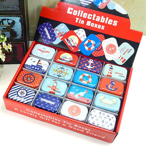 Оптовые мини-коллекционные оловянные коробки Blue Ocean Coin Case Storage Box металлическая жестяная коробка конфет для свадьбы ,дня рождения