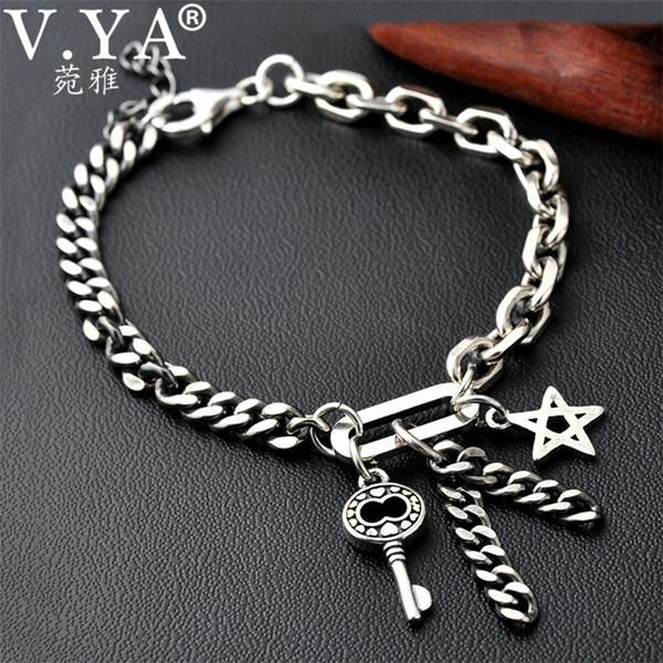 V.YA 925 Sterling Silver Key & Star Bracelet for Women Men Couple Handmade Thai Silver Link Chain Bracelets Male Fine Jewelry