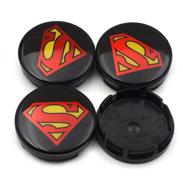 Gzhengtong 4pc/lot 56mm Superman Logo Car Emblem Wheel Center Hub Cap Rim Badge Covers 5JA601151A Black Superman Wheel Caps