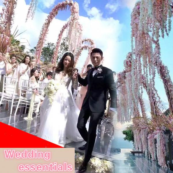 10pcs/lot Simulation 3 fork Wisteria hydrangea flower string Wedding DIY rattan Decorative rattan for Wedding and Home Decor