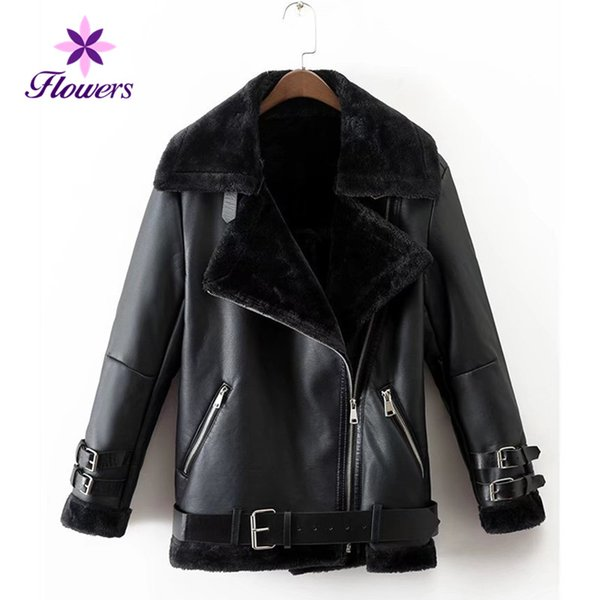 Autumn Winter New Faux Leather Jacket Women Plus Size Turn-down Collar Long-sleeved Black Fur One Locomotive Leather Coat LRY54