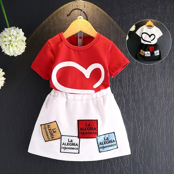 2018 Korean New Pattern Girl In Children Suit Pure Cotton Short Sleeve Love T All-match T-shirt Leisure Time Short Skirt Twinset