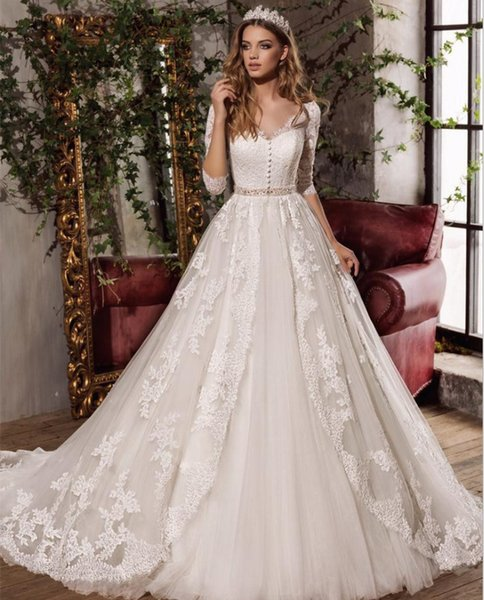 2018 Elegant A-line V-neck Half Sleeve Tulle Wedding Dress Hollow Back Bow Sash Appliques Bridal Wedding Gowns Court Train Robe De Mariage