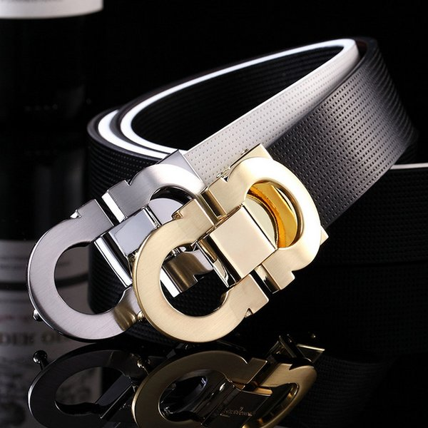 Hot selling men's cowhide leather belts, fashionable man leisure leather words take brand smooth buckle leather belt free shipping