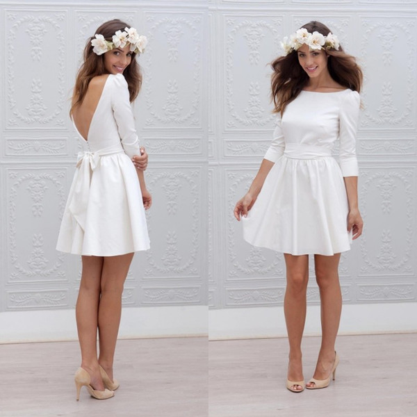 Fall 2018 Boho Short Wedding Dresses Bateau Neck A Line 3 / 4 Length Sleeves White Satin Beach Style Bridal Wedding Gowns