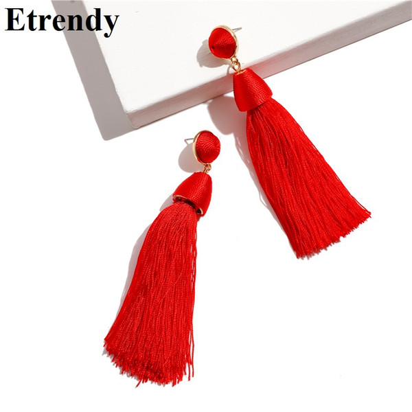 Boho 2018 New Thread Ball Tassel Earrings For Women Fashion Party Wedding Jewelry Statement Long Pendientes Red Black Yellow