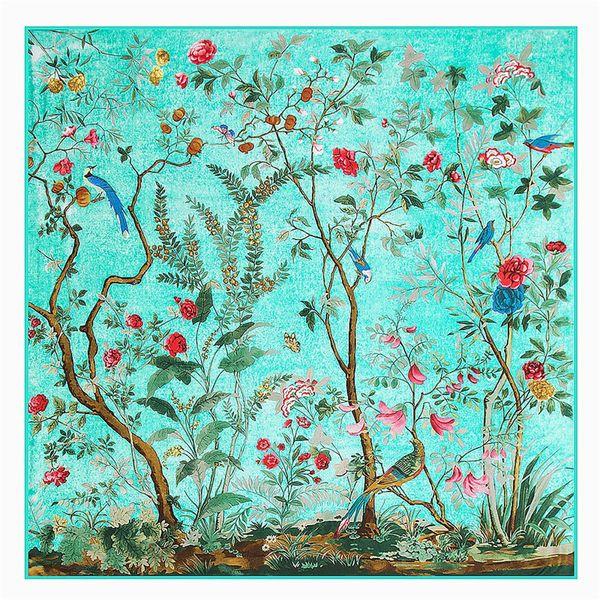 130cm*130cm 2017 Brand Silk Scarf Singing Birds Fragrant Flowers Print Scarf For Women Headband,Twill Large Square Scarf Shawl S18101904