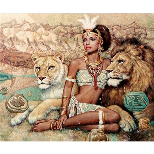 DIY Diamond Painting Wall Sticker Beauty and lion Cross Stitch Embroidery Painting3D/5D sticker 40x50cm Home Decor