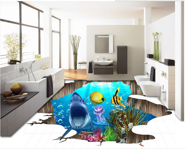 3D Flooring Decor Paintings Waterproof Wallpaper Underwater world shark tile floor three-dimensional painting background wall