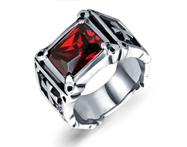 black red color fashion simple men's gemstone zircon rings stainless steel ring jewelry gift for men boys 470