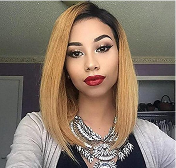 Celebrity style 12inch ombre 1b 27 bob wig layer straight brazilian human hair full lace wig free shipping