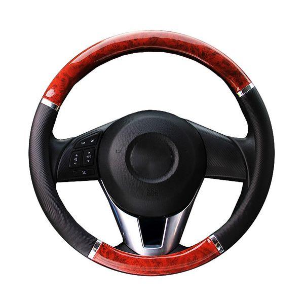 Cubierta de la rueda del volante negra con diseño de madera y diámetro de la trenza del volante del coche de cuero Trim / PU 37cm-38cm