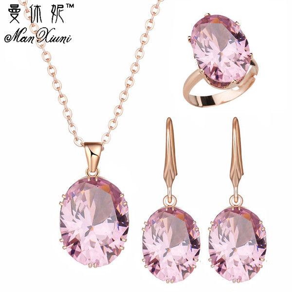 2018 Top Quality Luxury Rose Gold Jewelry for Women Wedding Earrings with rings