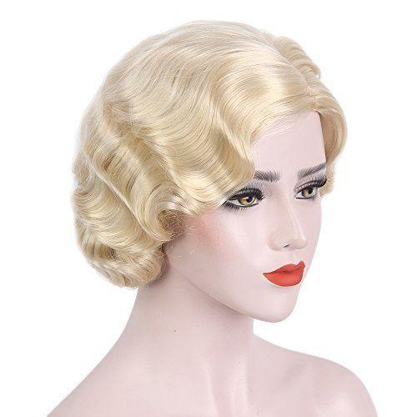 Finger Wave Peluca Blonde Bob Corto Rizado Para Mujeres Cosplay Cos Platinum 14