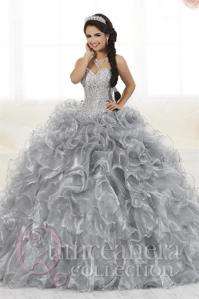 2019 Gorgeous Heavy Beaded Organza Quinceanera Dresses for Sweet 16 Ball Gowns Sweetheart Ruffles Evening Party Dress