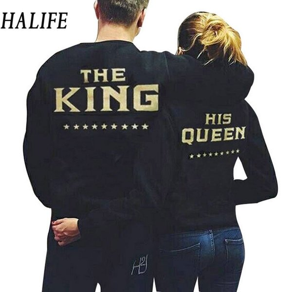 Wholesale-HALIFE Fashion  Women Men Couple Clothes Sporting Long Sleeve Letter Print Black TShirt Couple T Shirt For Lovers 940